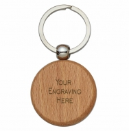 Round Bamboo Keyring 1 9 16 x 1 9 16 Inch (40x40mm) : New 2019