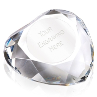 Heart95 Facetted Paperweight Optical Crystal 95mm