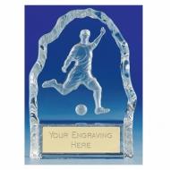 Echo4 Footballer Trophy Wedge Optical Crystal 4.25 Inch