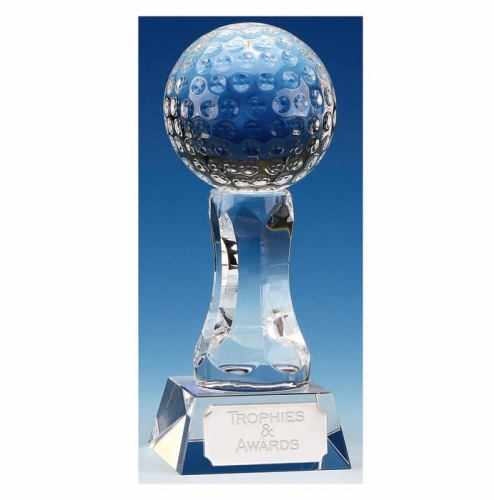 Ace7 Golf Trophy Optical Crystal 7 1/8 Inch