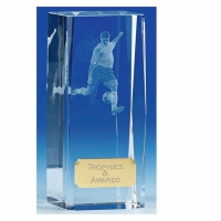 Clarity4 Crystal Football Trophy Block Optical Crystal 4.5 Inch