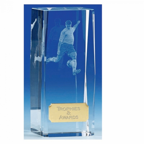 Clarity4 Crystal Football Trophy Block Optical Crystal 4.5 Inch