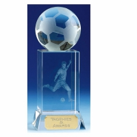 Mercury6 Football Trophy Optical Crystal 6 Inch