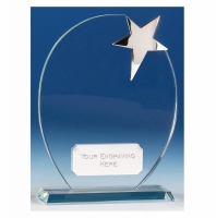 Mission Star Glass Award with Plate 6.5 Inch (16.5cm) : New 2020