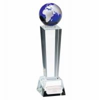 Unite Blue Globe Crystal Optical Crystal 6 7/8 Inch