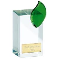 Leaf Crystal Clear/Green 5.25 Inch