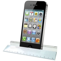 Glass Ruler Paperweight & Phone Hol Clear 6.25 Inch