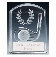 Precision Golf Trophy Award Iron Glass - Clear - 4 3/8 (11cm) - New 2018