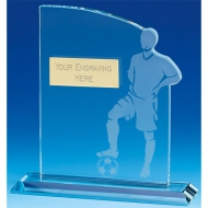Contour Football Trophy Award Glass - Clear - 7.25 inch (18.5cm)- New 2018