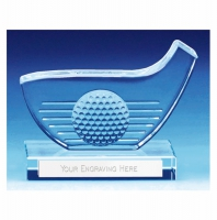 Golf Trophy Award Club and Ball Glass - Clear - 3.25 (8cm) - New 2018