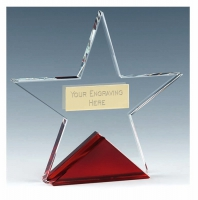 Fire Star Crystal Clear/Red 4 1/8 Inch