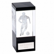 Orbit Black Football Trophy Award Crystal - Clear/Blue - 4 inch (10cm) - New 2018