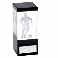 Orbit Black Football Trophy Award Crystal - Clear/Blue - 4.75 inch (12cm)- New 2018