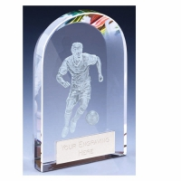 Arc Football Trophy Award Crystal - Clear - 4 3/8 inch (11cm) - New 2018
