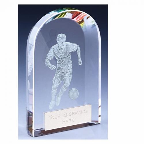 Arc Football Trophy Award Crystal - Clear - 4 3/8 inch (11cm)- New 2018