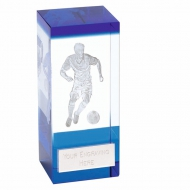 Orbit Blue Football Trophy Award Crystal - Clear/Black - 4 inch (10cm) - New 2018