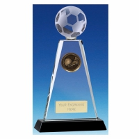 Trio Football Trophy Award Crystal Trophy - Clear/Black - 6.75 inch (17cm) - New 2018