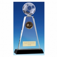 Trio Football Trophy Award Crystal Trophy - Clear/Black - 8 inch (20cm) - New 2018