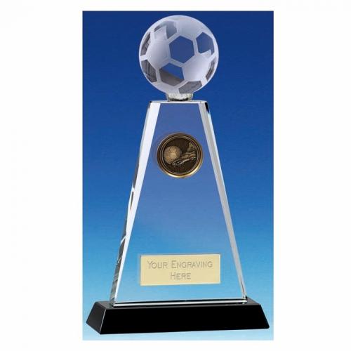 Trio Football Trophy Award Crystal Trophy - Clear/Black - 8 inch (20cm) - New 2018