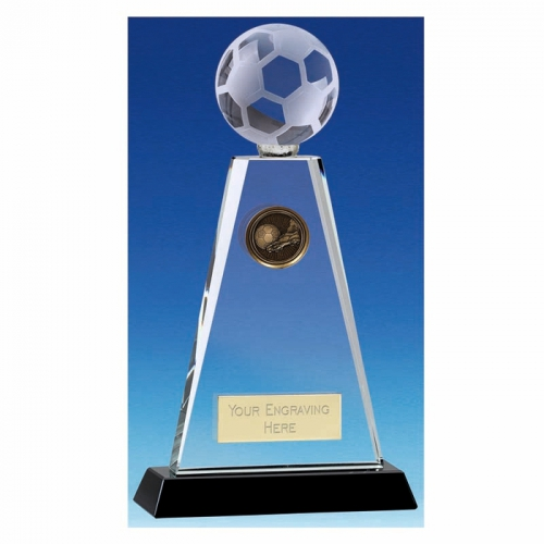Trio Football Trophy Award Crystal Trophy - Clear/Black - 9 inch (23cm) - New 2018