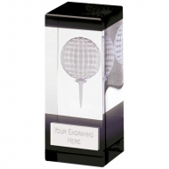 Orbit Black Golf Trophy Award Glass - Clear/Black - 4 inch (10cm) - New 2018