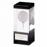 Orbit Black Golf Trophy Award Glass - Clear/Black - 4.75 inch (12cm)- New 2018