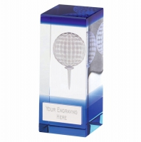 Orbit Blue Golf Trophy Award Crystal - Clear/Blue - 4 inch (10cm) - New 2018