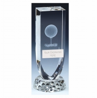 Symetry Golf Trophy Award Crystal - Clear - 5.25 inch (14cm) - New 2018