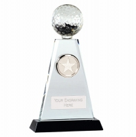 Trio Golf Trophy Award Crystal - Clear/Black - 8 inch (20cm)- New 2018