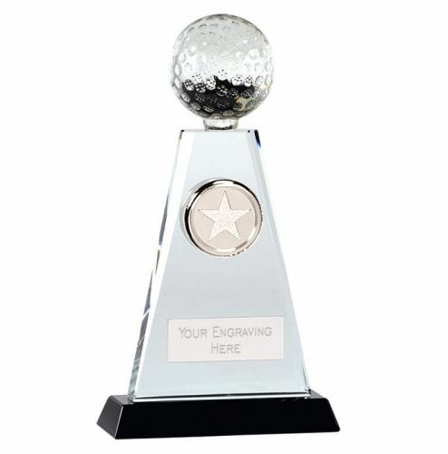 Trio Golf Trophy Award Crystal - Clear/Black - 8 inch (20cm) - New 2018