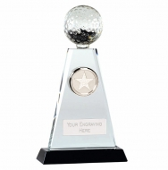 Trio Golf Trophy Award Crystal - Clear/Black - 9 inch (23cm) - New 2018
