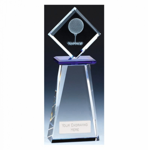 Balance Golf Trophy Award Crystal - Clear/Blue - 7.75 inch (19.5cm) - New 2018