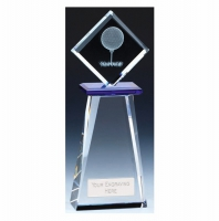 Balance Golf Trophy Award Crystal - Clear/Blue - 8.25 inch (21cm)- New 2018