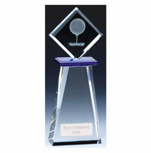 Balance Golf Trophy Award Crystal - Clear/Blue - 9.75 inch (24.5cm) - New 2018