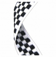 Medal Ribbon Chequered Flag Black/White 7/8 x 32 Inch