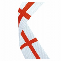 Flag Neck Ribbon England White/Red 7/8 X 32 Inch