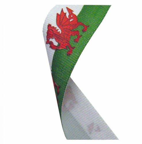 Flag Neck Ribbon Wales Red/Green/White 7/8 x 32 Inch