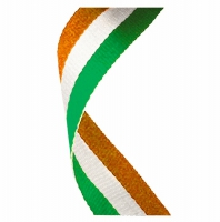 Flag Neck Ribbon Irish Green/White/Orange 7/8 x 32 Inch