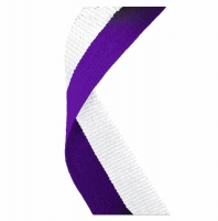 Medal Ribbon Purple & White Purple/White 7/8 x 32 Inch