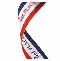 Medal Ribbon 2nd Place Red/White/Blue 7/8 x 32 Inch