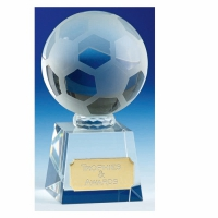 Victory3 Crystal Football Trophy Optical Crystal 3.75 Inch