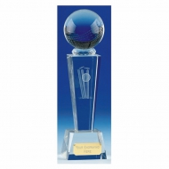 Unite Cricket Trophy Award Optical Crystal - Clear - 7 1/8 Inch (18cm) - New 2018