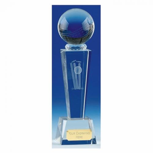 Unite Cricket Trophy Award Optical Crystal - Clear - 7 1/8 Inch (18cm) - New 2018
