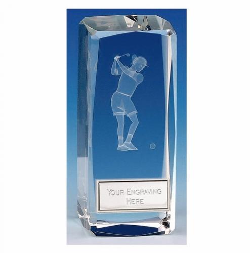 Clarity Female Golfer Crystal Block Clear 4 1/2 Inch