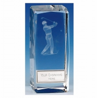 Clarity Male Golfer Crystal Block Clear 4 1/2 Inch