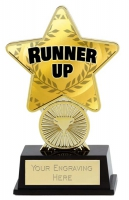Runner Up Trophy Award Superstar Mini Gold 4.25 Inch (10.5cm) : New 2020