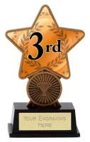 3rd Place Trophy Award Superstar Mini Bronze 4.25 Inch (10.5cm) : New 2020