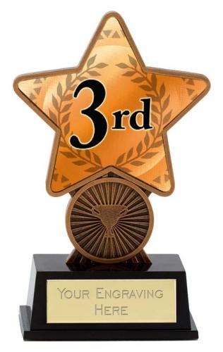 3rd Place Trophy Award Superstar Mini Bronze 4.25 Inch (10.5cm) : New 2020
