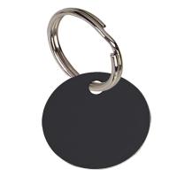 Round Black Anodised Alum Tag Black 25mm