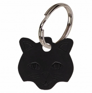 Cat face Black Anodised Alum Tag Black 23mm x 23mm